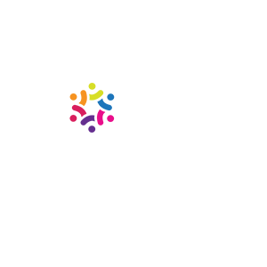 wbenc white logo with capital women owned stacked and the O of women is a decorative rainbow hexagon with trademark demarcation