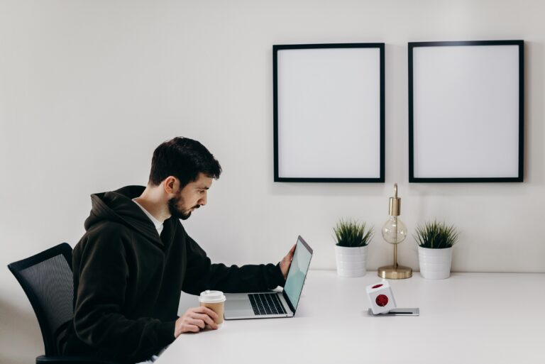 man working freelance from home