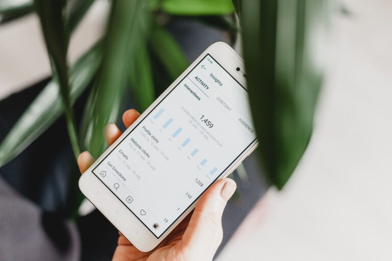 instagram analytics on an iphone with a plant