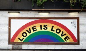 love is love rainbow mural