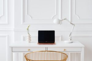 an aesthetically pleasing work from home office set up